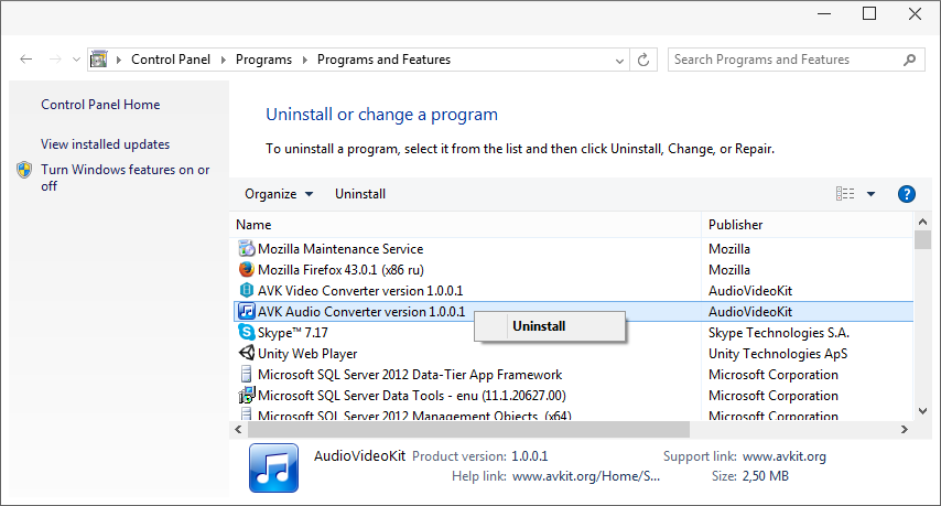 How to uninstall AudioVideoKit Software